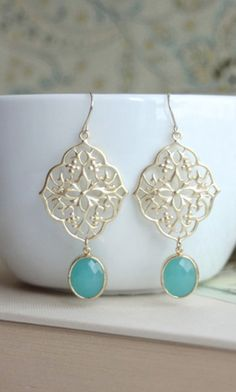 Gorgeous gold & teal drop earrings