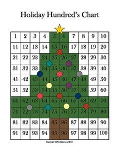 hundreds chart | Christmas Tree Hundred's Chart Number Identification Activity