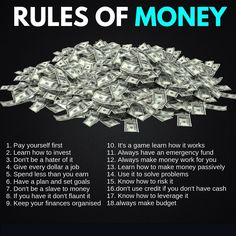finance investing Rules Of Money Make Easy Money, Make Money Online, Financial Quotes, Financial Peace, Financial Literacy, Investment Tips, Retirement Investment, Investment Quotes, Planning Budget
