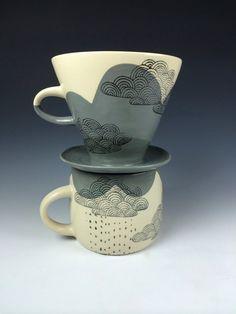 Made to Order Rainy Days Pour Over Drip Coffee Server and Mug