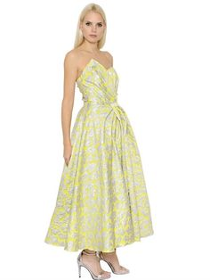 INGIE STRAPLESS BROCADE DRESS, YELLOW/SILVER. #ingie #cloth #long dresses