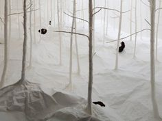 Imagination/FairyTale/Dreams A fairytale forest crafted from paper is a homage to nature, floating airlessly above a gallery floor in Hong Kong. Peering up through the forest floor, guests can see the exhibit from the perspective of an insect, says Japanese artist Takashi Kuribayashi. Pristine white, the trees are ghostly empty except for the heads of viewers popping in and out like beetles b