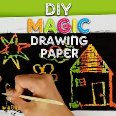 Get your little one's creativity soaring with this fun and easy magic drawing paper! A super simple activity using card stock, crayons, and paint! Let your little ones draw creating great original colors! Easy Arts And Crafts, Paper Crafts For Kids, Easy Crafts For Kids, Craft Activities For Kids, Summer Crafts, Toddler Crafts, Preschool Crafts, Fun Crafts, Art For Kids
