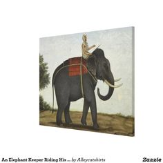 An Elephant Keeper Riding His Elephant (1825) Canvas Print