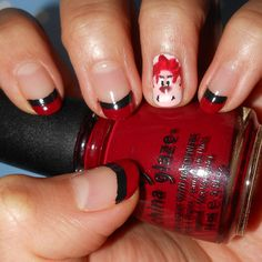 Wreck it Ralph Nails-- I think I'd skip the Ralph nail and just do the black and red lol