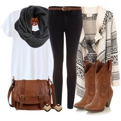 """Boho in the Boondocks"" by qtpiekelso on Polyvore"" I really love the sweater here. I don't think I'd wear cowgirl boots tho."