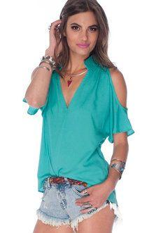 Jenna Cold Shoulder Top in Emerald