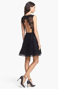 Alice + Olivia 'Natalia' Open Back A-Line Lace Dress | Nordstrom