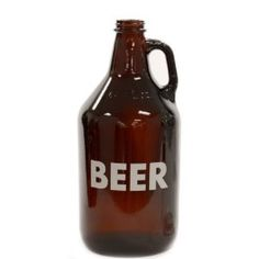 """64 oz Glass BEER Growler Color: Amber by Oktoberfest Haus. $14.50. Great for home brewing or transporting beer. Growler holds 1/2 gallon (64 ounces) of your favorite beer!. BEER printed. Made of glass - Available in amber or clear glass and comes with screw on cap. Makes a great gift. Amber growler 11"""" tall Clear growler 10.5"""" tall Made in the USA An OktoberfestHaus exclusive product Fill up your glass growler with your favorite craft beer from your local brewery or fill i..."""
