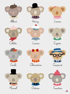 """Affiche chambre enfant """" Les koalas rétro """"  pour qui-est ce ?"""