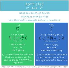 """Japanese particles: ni (roughly, """"to"""") vs. de (roughly, """"at"""")"""