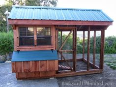 6'x10' Quaker Combination Chicken Coop with Metal Roof, Painted Nest Box Lid, and Wire over windows: includes 4 nesting boxes and holds 12-15 chickens--San Ramon, CA http://www.backyardunlimited.com/chicken-coops.php