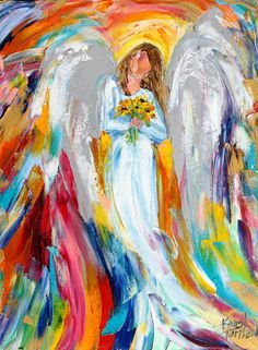 Original oil painting Reserved for Eve  Angel and by Karensfineart