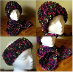 Black MultiColor Hat and Scarf Set with by RSSDesignsInFiber