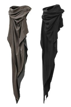 Layered Tube Stole constructed by 2 different colors (Black & Charcoal) of Cashmere Cotton Jersey. Dystopian Fashion, Cyberpunk Fashion, Dark Fashion, Mens Fashion, Fashion Outfits, E Biker, Mode Steampunk, Apocalyptic Fashion, Drawing Clothes