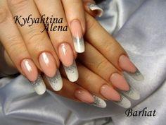 Fingernägel Design AleNail Weiß French mit Silber glitzer