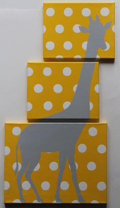 Giraffe Nursery Safari Nursery Decor Jungle Nursery Decor Animal Canvas Acrylic Painting Yellow Gray Nursery Polka Dots Could diy and make winnie the pooh silhouette? Giraffe Nursery, Jungle Nursery, Nursery Room, Nursery Decor, Giraffe Art, Themed Nursery, Bedroom, Grey Yellow Nursery, Deco Kids