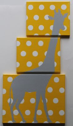 Giraffe Nursery Safari Nursery Decor Jungle Nursery Decor Animal Canvas Acrylic Painting Yellow Gray Nursery Polka Dots #mamasandpapas #dreamnursery