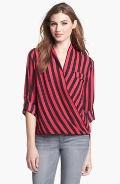 Pleione Faux Wrap Stripe Blouse available at #Nordstrom