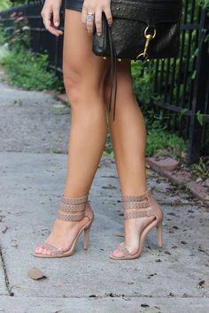 Nude heels mini skirt