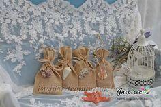 Picture of Bespoke Burlap Favor Bags Nautical Beach Theme Wedding Shells