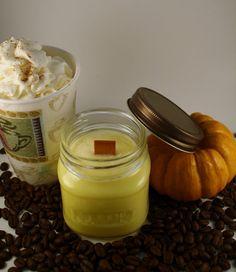 Mason Jar Candle  Vanilla Pumpkin Latte Scented by Blackberrythyme, $9.00