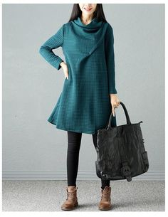 Art Warm Casual Loose Dress Women Tops Plus Size Knitting Stretch Sweater Oversized Dress, Long Sleeve Turtleneck, Fall Dresses, Istanbul, Turtle Neck, Plus Size, Casual, Sweaters, Cotton