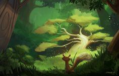 Sacred tree, Jaime Puga on ArtStation at https://www.artstation.com/artwork/sacred-tree-99e5f973-75c3-4e4a-bf13-765a55cb3580
