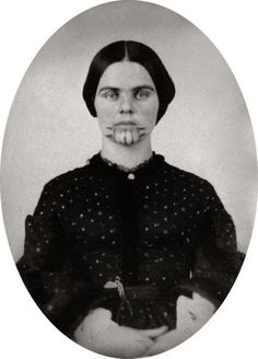 Olive Oatman, given facial tattoo by Native Americans who abducted her in the 1850s: