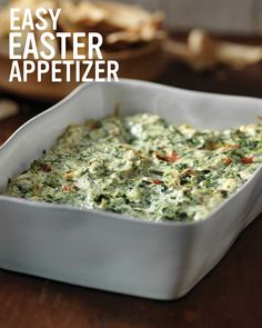 Don't sweat the small stuff. Simply prepare this Baked Spinach and Feta Dip for a perfect Easter appetizer. Easter Appetizers, Appetizer Dips, Quick Healthy Meals, Easy Meals, Healthy Recipes, New Recipes, Cooking Recipes, Pizza Recipes, Feta Dip