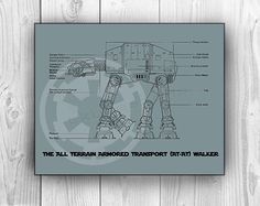 AT-AT Walker Star Wars Poster Blueprint Movie Print by tkbdesigns on Etsy https://www.etsy.com/listing/117683473/at-at-walker-star-wars-poster-blueprint