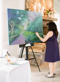 Recognize this scene? It's Fearrington! We love the idea of an artist painting your wedding day. | Photography by @fteasley #faithteasleyphotography | #FearringtonWedding #FearringtonVillage #wedding #weddingartist #weddingpainting