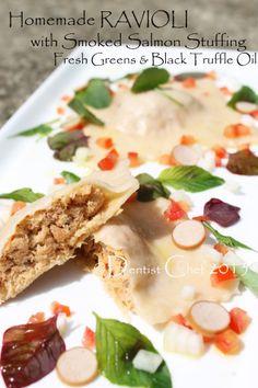 Homemade Smoked Salmon Ravioli Pasta with Fresh Greens and Truffle Oil ala Dentist Chef Pork Sausage Recipes, Spicy Sausage, Stuffing Recipes, Meat Recipes, Salmon Recipes, Dinner Recipes, Cooking Recipes, Olive Recipes, Garlic Recipes