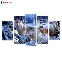 HUACAN 5D Diamond Embroidery Wolf Multigang Full Diamond Painting Cross Stitch Crystal Wall Decor Unfinished diy Gifts