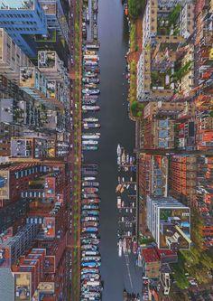 849x1200, 248 Kb / город, канал, корабли, яхты, дома, сверху, Амстердам