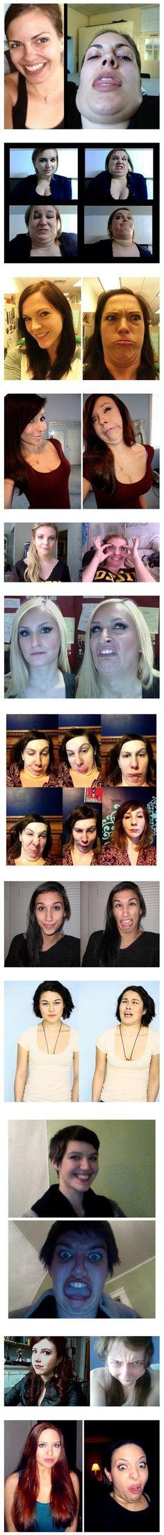 real life vs. snapchat faces