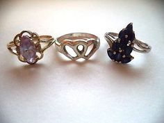 Lot of three rings sterling silver size 7 blue stone *pretty vintage rings*