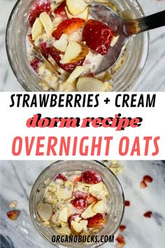 Easy overnight oats that are perfect for busy college students on the go. This healthy recipe can be made in your dorm room and can be eaten for breakfast or aa a healthy dorm room snack for later. #overnightoats #vegan #healthysnacks #healthybreakfast #healthysnacks Easy Meal Prep, Healthy Meal Prep, Easy Healthy Recipes, Healthy Cooking, Healthy Eating, Healthy College Snacks, College Food Hacks, College Meal Planning, Easy Overnight Oats