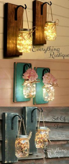 Magical, twinkly lights in this set of Mason Jar Lantern Sconces adds a beautiful warm ambiance to any Room! In love with the distressed look of the wood and the antique hooks... gorgeous! #LivingRoomDecor #FarmhouseLivingRoom #DiyRoomDecor #affiliate #MasonJarDecor #FarmhouseDecor #RusticDecor #TreatYourself #HousewarmingGift #BridalShowerGift #CountryHomeDecor #Mahogany #Lanterns #Sconces