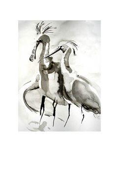 """""""Lepelaar"""" oost indische inkttekening door Lida Meines"""