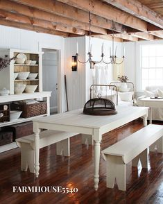 Image may contain: table and indoor Antique Farmhouse, Farmhouse Interior, Farmhouse Style, Interior And Exterior, Farmhouse Decor, Farmhouse Bed, Cottage Renovation, Dreams Beds, White Cottage