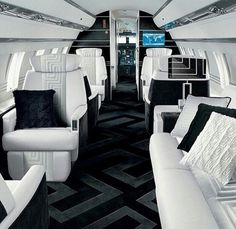 "Yes, it's a plane, but I was not going to create a board for ""luxury aircraft interiors …"" or …? [] Private Jet, black and white interior _ by Versace _"
