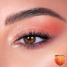 Peachy Makeup Look, Peach Eye Makeup, Coral Makeup, Soft Makeup Looks, Skin Makeup, Eyeshadow Makeup, Colourpop Eyeshadow, Eyeshadows, Peachy Eyeshadow