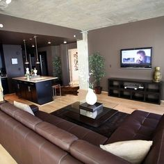 Front room or living room? Brown Leather Couch Living Room, Grey And Brown Living Room, Leather Living Room Furniture, Living Room Redo, Living Room Designs, Living Rooms, Home Design Diy, House Design, Living Room Color Schemes