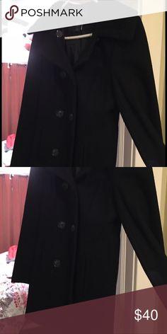 Black wool pea coat. Size 6 Black wool pea coat   Knee length. Sweater knit collar. Size 6. Smoke free and pet free home Moda International Jackets & Coats Pea Coats