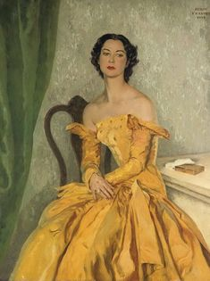 Portrait of Simone Gentile in a Yellow Gown: Serge Ivanoff  1959