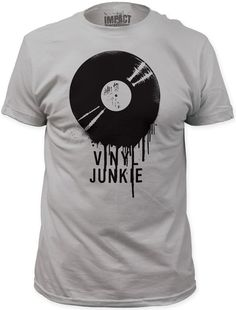 This men's grey vinyl junkie tshirt is the perfect addition to any die hard music, DJ, and/or vinyl record lover's wardrobe. Our tee is made from 100% gray cotton.