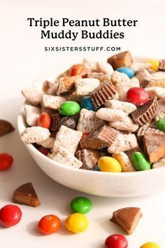 These muddy buddies are loaded with triple peanut butter and chocolate bliss! The rice chex are taste amazing with the M&M's and PB Cups, Peanut Butter Muddy Buddies, Muddy Buddies Recipe, Peanut Butter Chips, Yummy Recipes, Snack Recipes, Dessert Recipes, Healthy Recipes, Fun Desserts, Delicious Desserts
