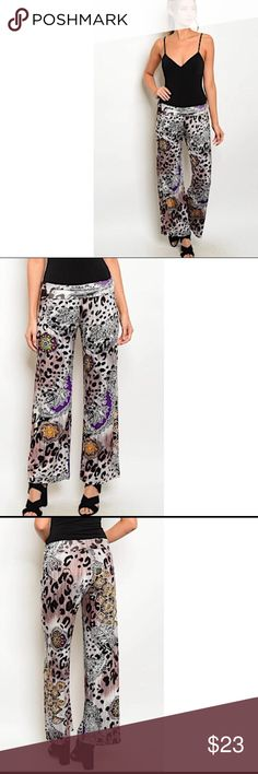 "🖤BF Sale🖤🆕 Printed design Palazzo pants NWT Elastic fold over waistband printed palazzo pants NWT  💕 Made in the 🇺🇸  💕 L 40"" W24"" IS 29"" S       L 41"" W 26"" IS 30"" M       L 42"" W 27"" IS 31"" L Pants"