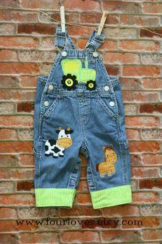 Boys Farm Overalls by FourLoves on Etsy Outfits Niños, Baby Boy Outfits, Baby Boy Overalls, Farm Animal Party, Farm Kids, Farm Birthday, My Little Baby, Birthday Dresses, Costumes